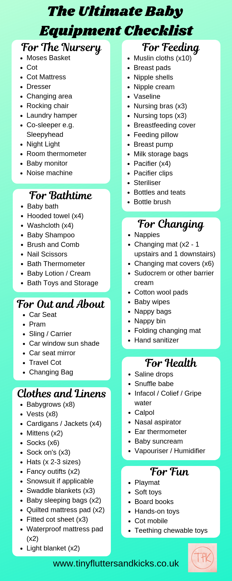 The Ultimate Baby Equipment Checklist Tiny Flutters And